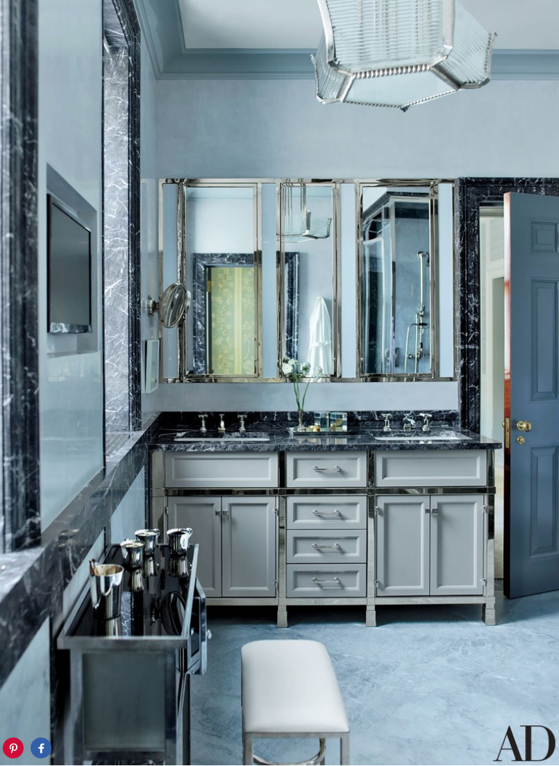 Lefroy Brooks sink fittings accent the master bath.