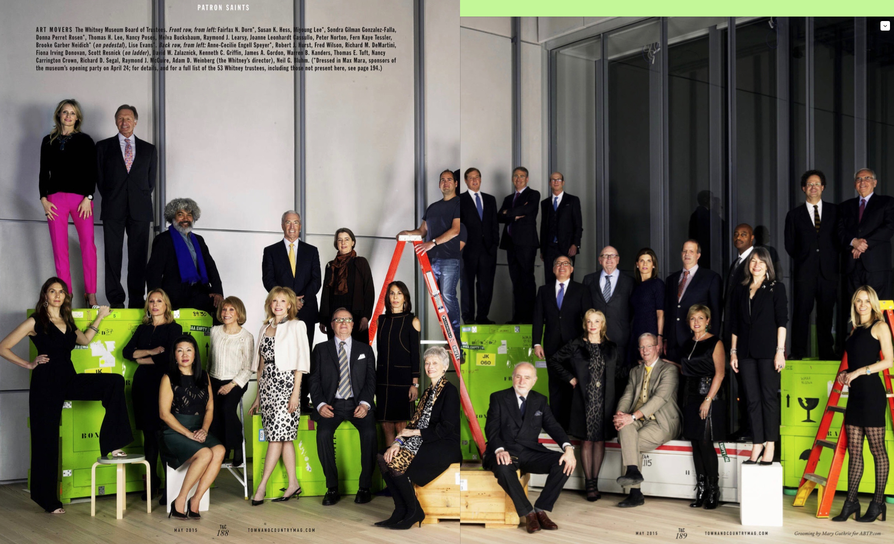 Trustees of the Whitney Museum at the museum's new home in Manhattan's Meatpacking District.