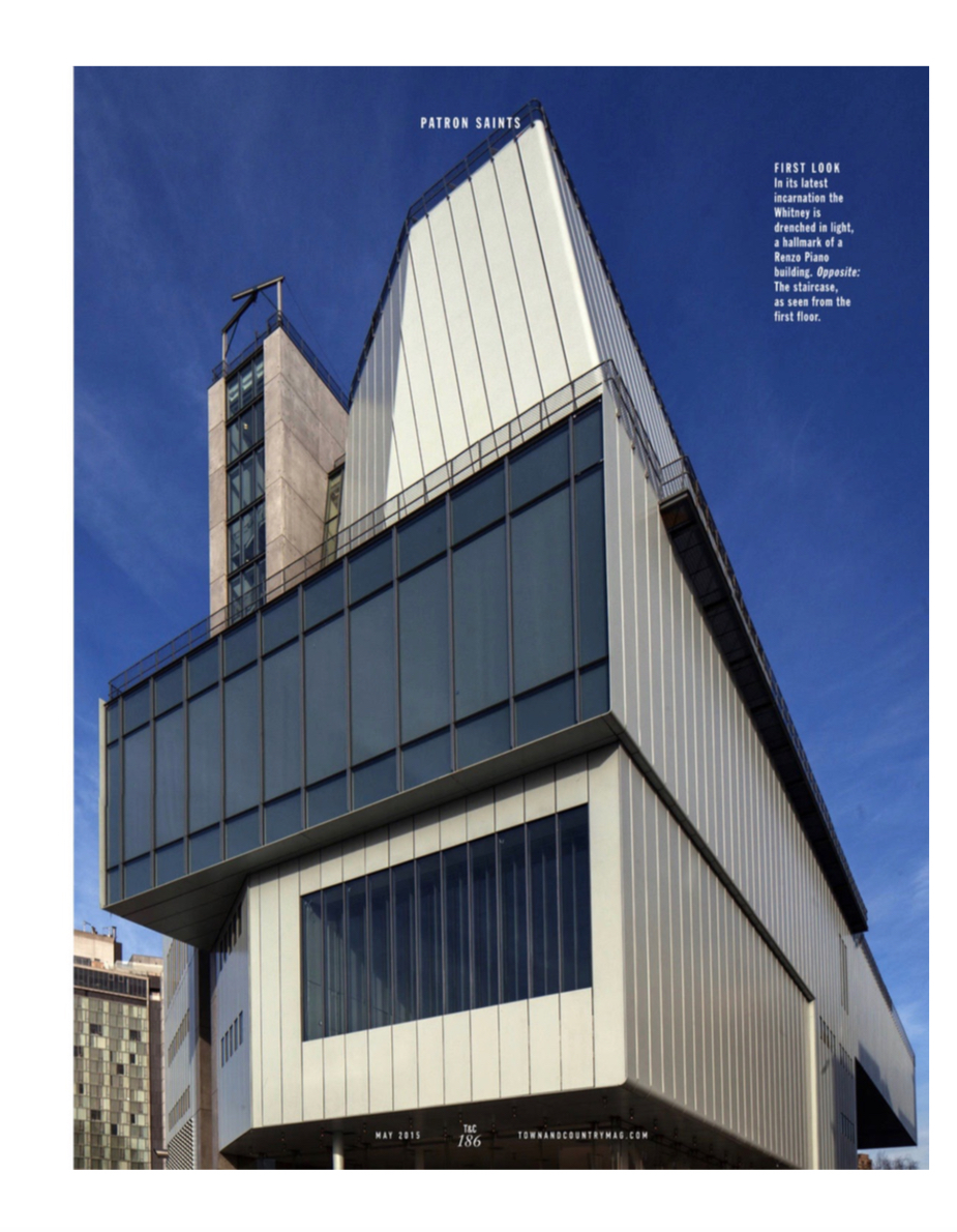 Exterior of New York's Whitney Museum in Town & Country magazine. Article by Christopher Mason. Photographs by Todd Eberle.