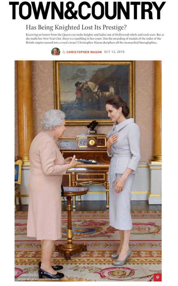 Angelina Jolies receives an honorary damehood from Queen Elizabeth at Buckingham Palace. Has Being Knighted Lost Its Prestige? Article by Christopher Mason in Town & Country. Photo by Anthony Devlin/WPA Pool/Getty Images