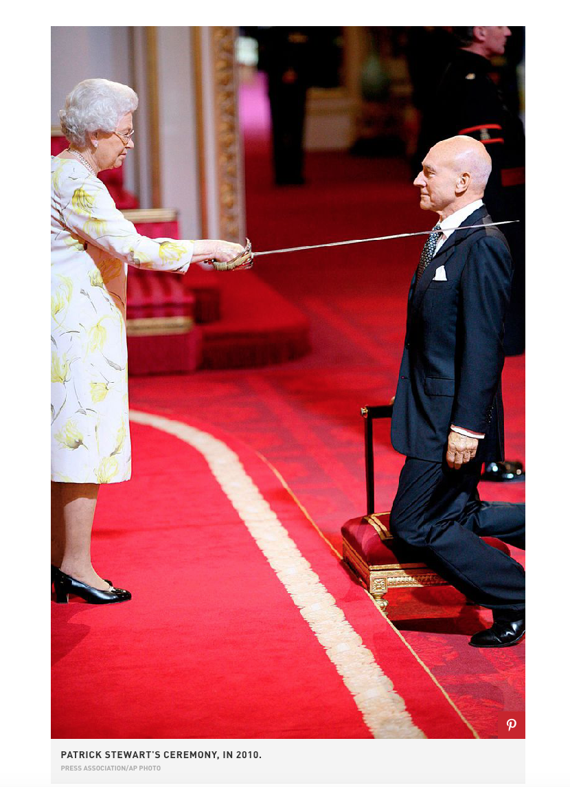 Patrick Stewart is knighted by Queen Elizabeth at Buckingham Palace. Photo credit Press Association/AP Photo Article in Town & Country magazine