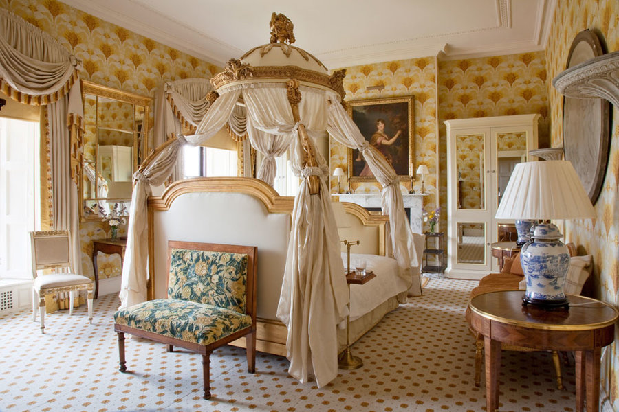 The Westmeath Bedroom, named after Marianne, Countess of Westmeath, whose portrait, by the studio of Sir Thomas Lawrence, hangs above the fireplace. (Her extracurricular exertions in a carriage with the Honourable Augustus Cavendish-Bradshaw inspired one of the most scandalous divorces of the 1790's.)