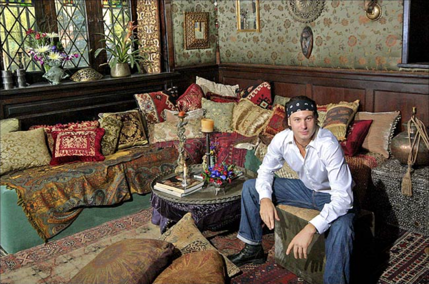 """Yohannan draped the """"Marie Antoinette"""" room in vintage silk jacquard found on the Lower East Side. Photo: John Lei for the New York Times"""