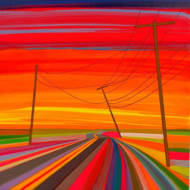 "Kink in the road. Grant Haffner, @granthaffner ""Cranberry Hole Road"" (2019), at @tambaran2gallery 5 East 82nd St #bizarreobsessionwithorange🍊"
