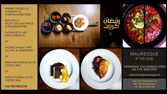 Kom tijdens de maand Ramadan heerlijk genieten van onze iftar menu. Van woensdag  t/m zondag hoeft u nergens aan te denken. Alleen even vooraf reserveren en wij regelen de rest.  #ramadan #restaurant #amsterdam #westerpark #iftar #halalfood #alhamdulillah #thankfull #friends #family #letsdothis #dinner #qualitytime #nostress