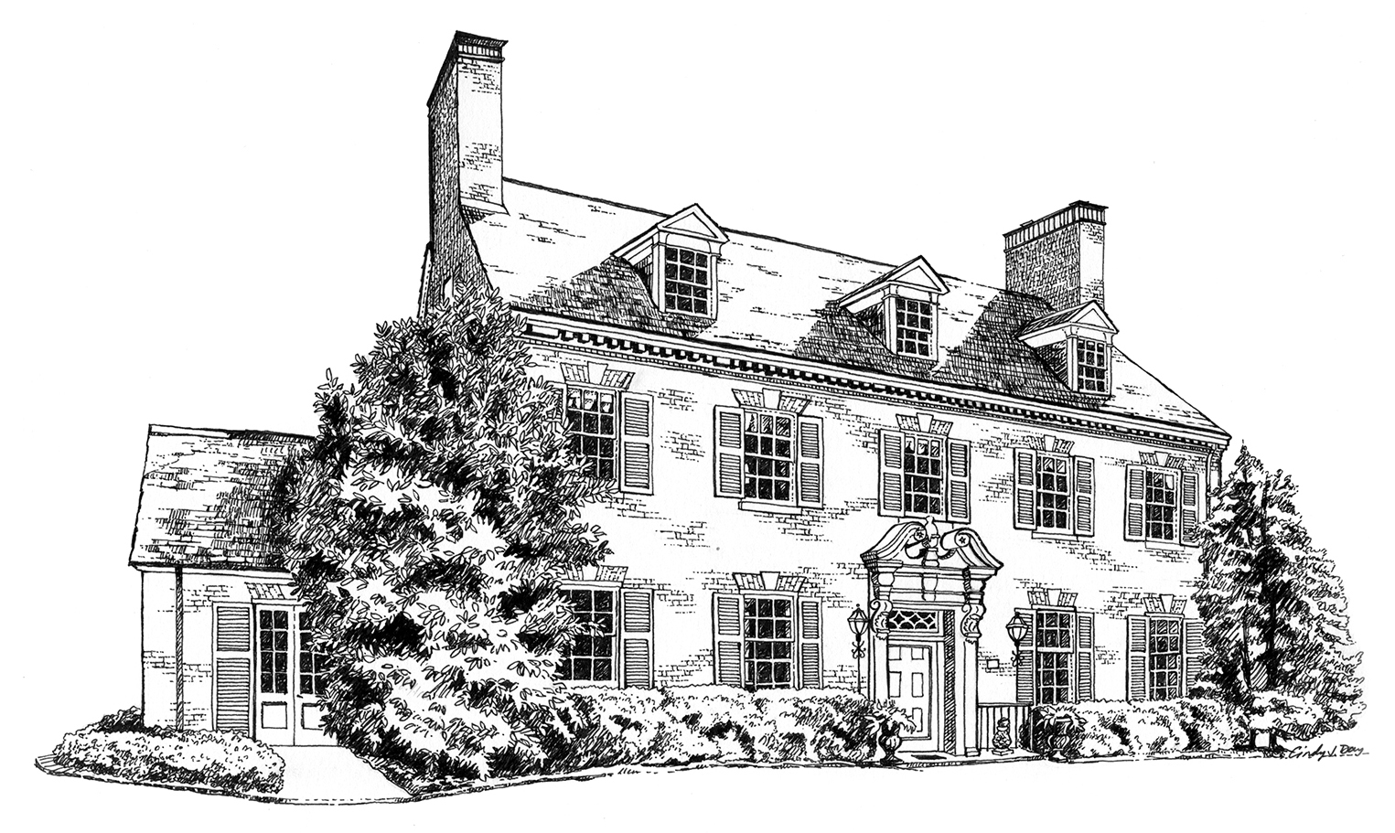 Pen and Ink House Illustration