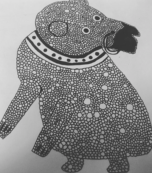 "This little guy was drawn on a visit to  Bristol Museum . ""Bear Jug"", Staffordshire, 1740.  He's inspired me many times over the years and every time I go back to Bristol I have to visit the museum (often just to see him). I'm thinking of ways in which I can retranslate his bobbly, ceramic texture (maybe through embroidery/French knots). Anyway he is to feature in a new body of work which I will be creating for December 2019.  Themes: childhood, imagination, nostalgia and toys."