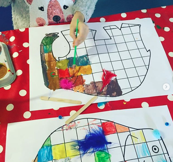 Exploring different colours and textures on our Elmer grids.