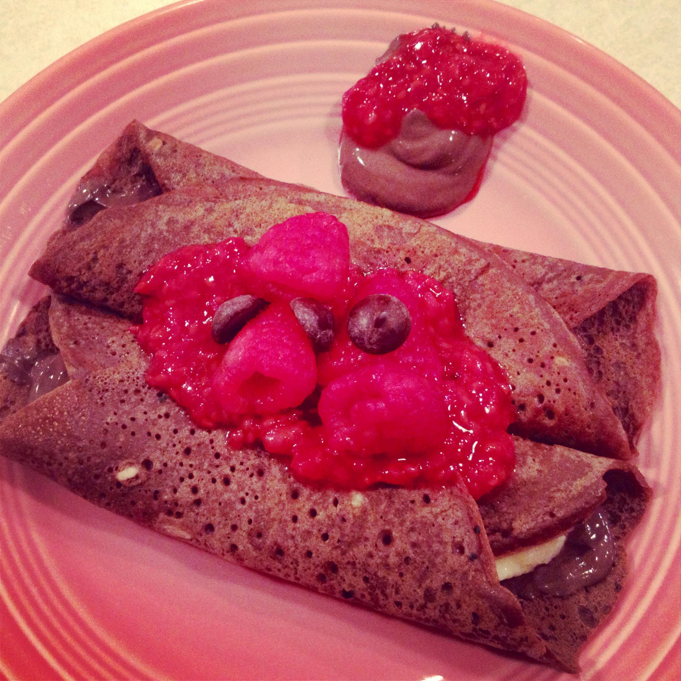 chocolate raspberry crepes