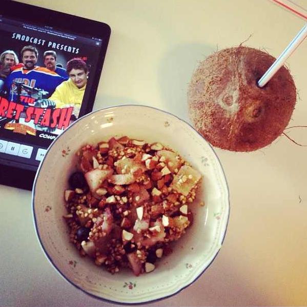 breakfast crisp and coconut water