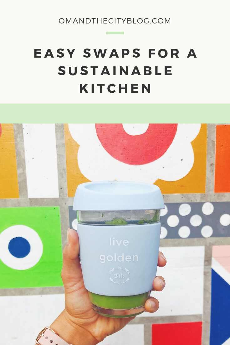 Easy swaps for a sustainable kitchen | In this post, I'm sharing a comprehensive list of the sustainable and eco-friendly products I personally use in our home to waste less, save money and lower your impact. These are easy swaps you can make when grocery shopping, cleaning, storing, or taking your food to-go, so they're especially good if you're a beginner to sustainable living. | Om & The City #omandthecity #sustainableliving #ecofriendly
