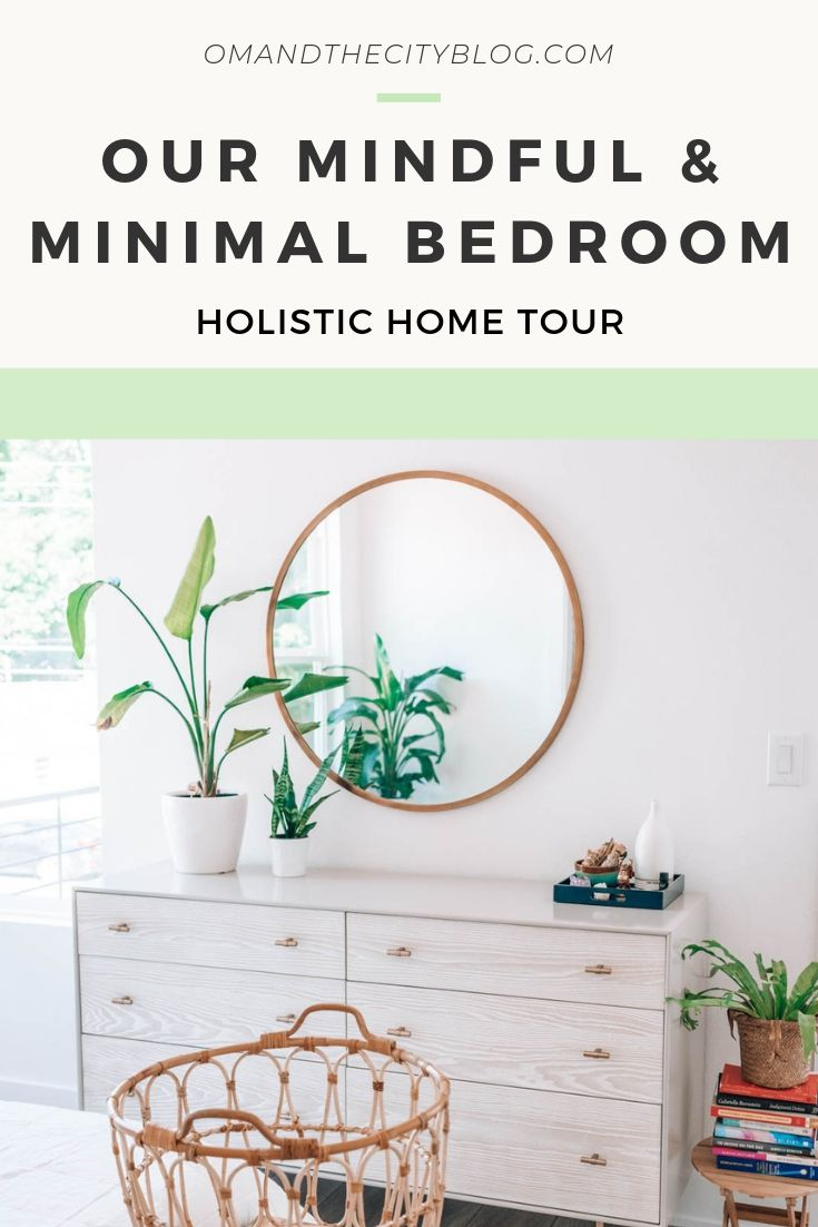 The Om Home: Tour our Modern + Minimal Master Bedroom | In this post, I reveal our new master bedroom. It was important to make our bedroom a sweet retreat. I share our process making homemade hexagon shelves and share my favorite minimal and modern home decor products. If you want to make your bedroom a peaceful oasis, this one's for you! | #minimalistdecor #interiordesign #housedecor #bedroominspo #bohobedroom #whitebedroom #minimalhomeinspo #minimalmastersuite
