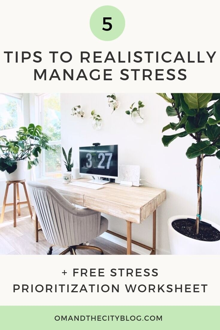 5 Tried & True Tips to Realistically Manage Stress | Managing stress is part of growing. In this post, I share some of the ways I handle stress and navigate through hard times. These tips help keep my head on straight and come out the other side healthy and happy. And there's a FREE downloadable worksheet on stress reduction and prioritization exercises to help you from chaos to calm #mentalhealth #managingstress #personalgrowth #wellnesstips #motivation