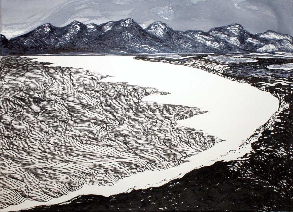 Lake Pedder - Before the Flooding - Pen and Ink - 2015 - SOLD