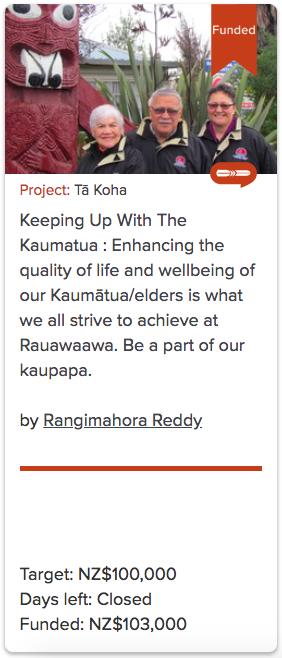 Keeping Up With The Kaumatua - E kore e mutu ngā kupu mihi ki a koutou e te tī, e te tā. Kāhore e ārikarika tēnā hāpi, e tēnā manaakitanga i a mātou i ngā tau, kua taha ake nei. Ka noho, ka roa, ka tutuki i a Rauawaawa te wawata kia kite ā-kanohi tonu, he whare hou mā ngā kaumātua. Nā reira e ōku rangatira kei te mihi, kei te mihi, kei te mihi.The project vision is to provide a safer environment for our kaumatua through an upgrade which costs $3.3m. To-date, we've raised $1m. Our $100,000 target through PledgeMe will allow us to get Stage 1 underway. It means our kaumatua will be able to witness these initial changes and experience facilities that are far more age-friendly.Funding target: $100,000Deadline: Sunday, 30th September