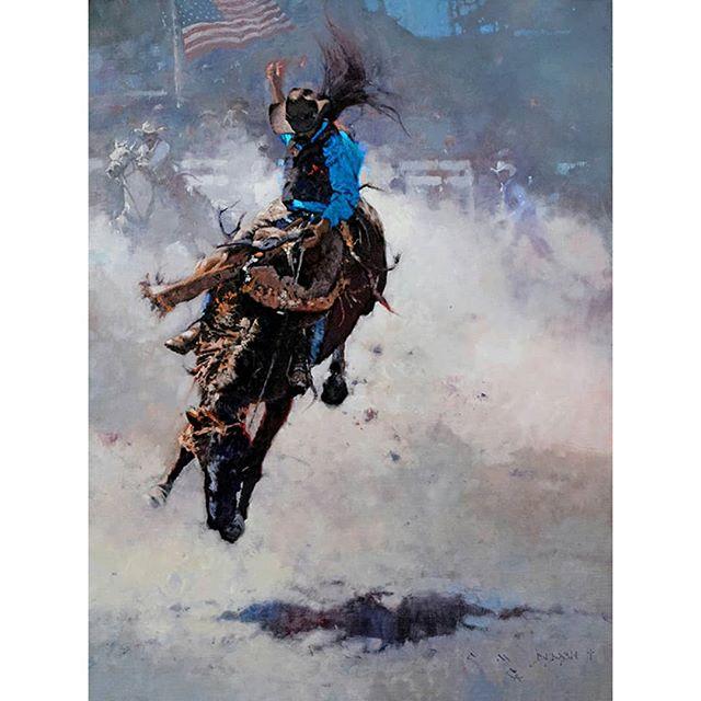 """Rodeo - Flyin' High""  oil on linen  32 in by 24 in  A fun painting that was done for Quest For The West 2017 at the Eiteljorg Museum - SOLD! . . . . . #westernartforsale #westernart #nativeamerican #nativeamericanartwork #indians #artwork  #indianartwork #westernartcollectors #artworks #frontierartwork #frontierpaintings #cmdudash #cmdudashart #cowboyartistsofamerica #cowboyart #cowboyartwork #rodeos #rodeoart"