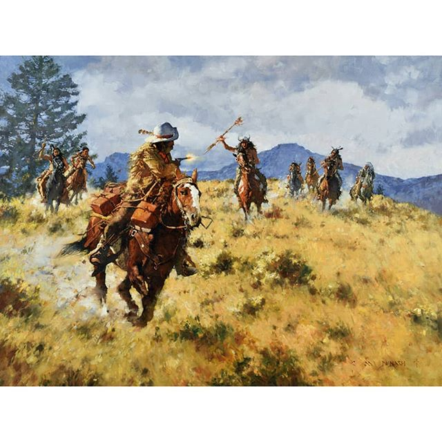 """ A Narrow Escape - The Pony Express 1861""  oil on linen  36 in by 48 in  SOLD in 2016 at the Scottsdale Art Auction . . . . . #westernartforsale #westernart #nativeamerican #nativeamericanartwork #indians #artwork  #indianartwork #westernartcollectors #artworks #frontierartwork #frontierpaintings #cmdudash #cmdudashart #cowboyartistsofamerica #ponyexpress"