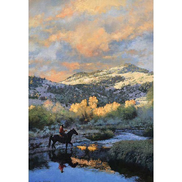 """Here's a new painting that will be shown at the Cowboy Artists of America Show in Fort Worth Texas, November 1st and 2nd.  It's called """"Morning Breaks"""" oil on linen 36in by 24in.  I hope collectors and friends can attend the show,it will be awesome!! Go to cowboyartistsofamerica.com for more information. . . . . . # westernart #westernpaintings #cowboyart #frontierpaintings #westernartwork #cmichaeldudash #cmdudash #americanoilpaintings #cowboys #theoldwest #artwork #artworks #art #paintings #artwork"""