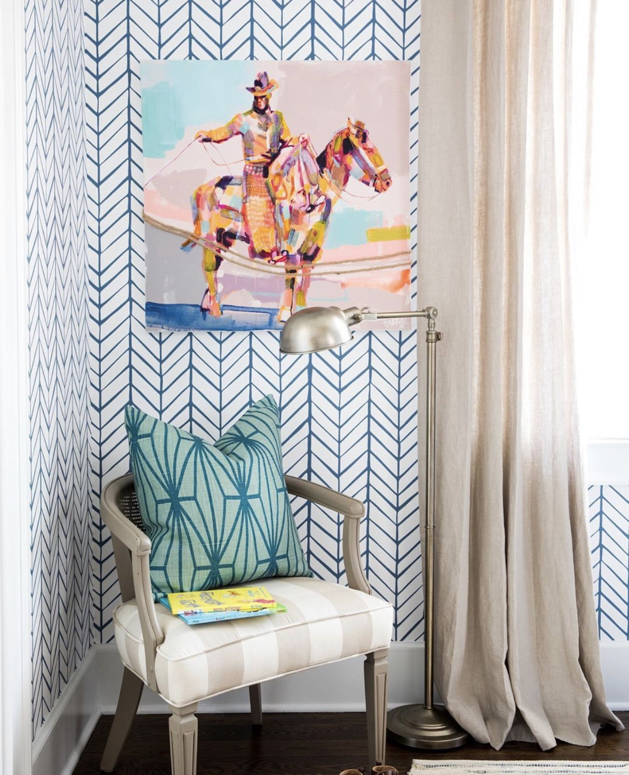 Interiors by  Whitney Durham . Artwork by  Elaine Burge . Photography by  Laura Negri Photography .