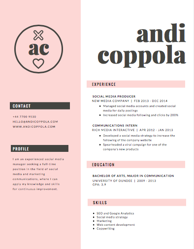 CANVA.COM - This template is best for creative fields, such as graphic design or social media, and it's best advised not to use the heart symbol on an academic résumé. If you were to edit this template (which you can do on Canva.com), this template becomes very versatile.