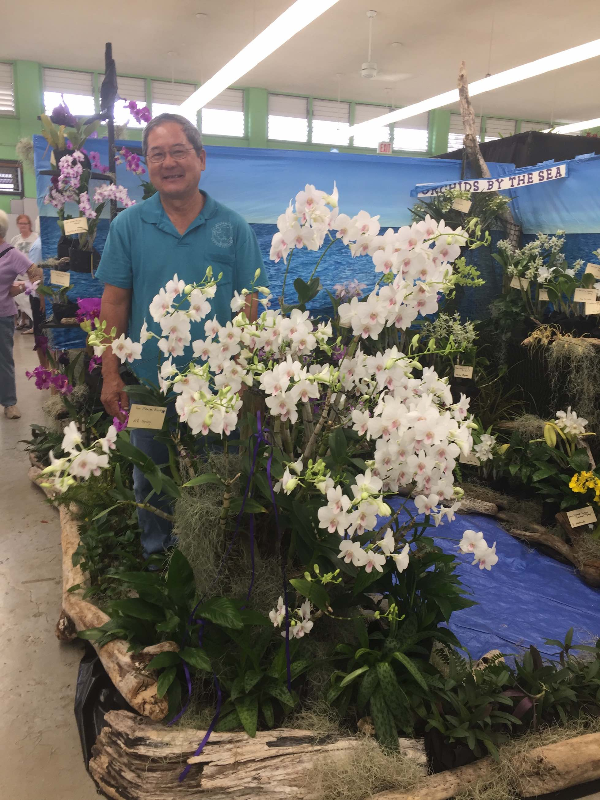 Roy Tokunaga with his four-time Best In Show orchid (Dendrobium Waianae Blush)
