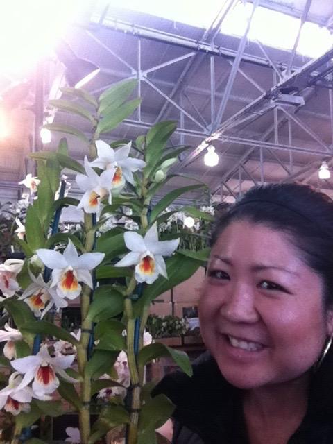 Me with my namesake (Dendrobium Lori's star)