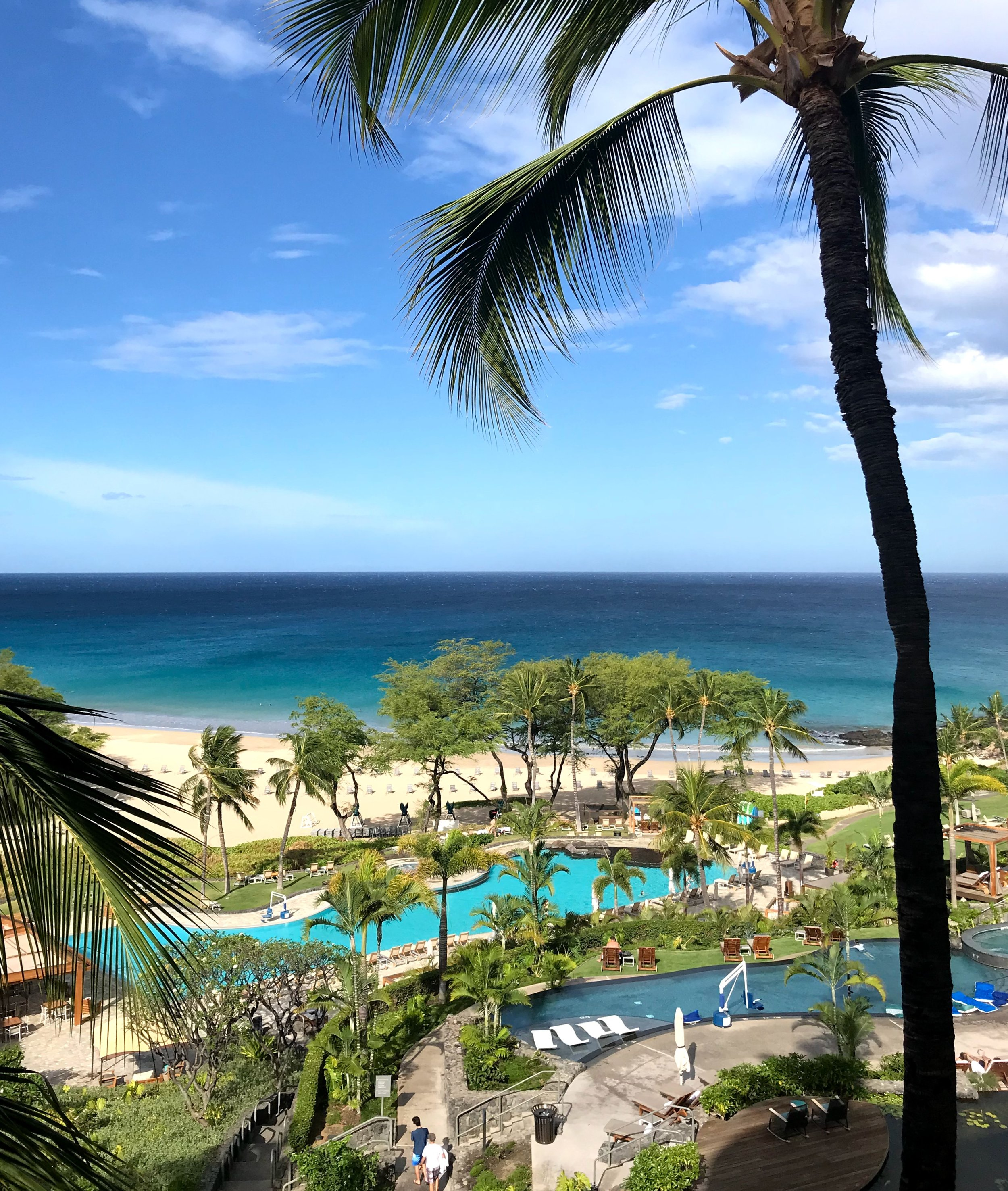 The Westin Hapuna adult infinity pool and the larger family pool below—-both with easy access to the beach.
