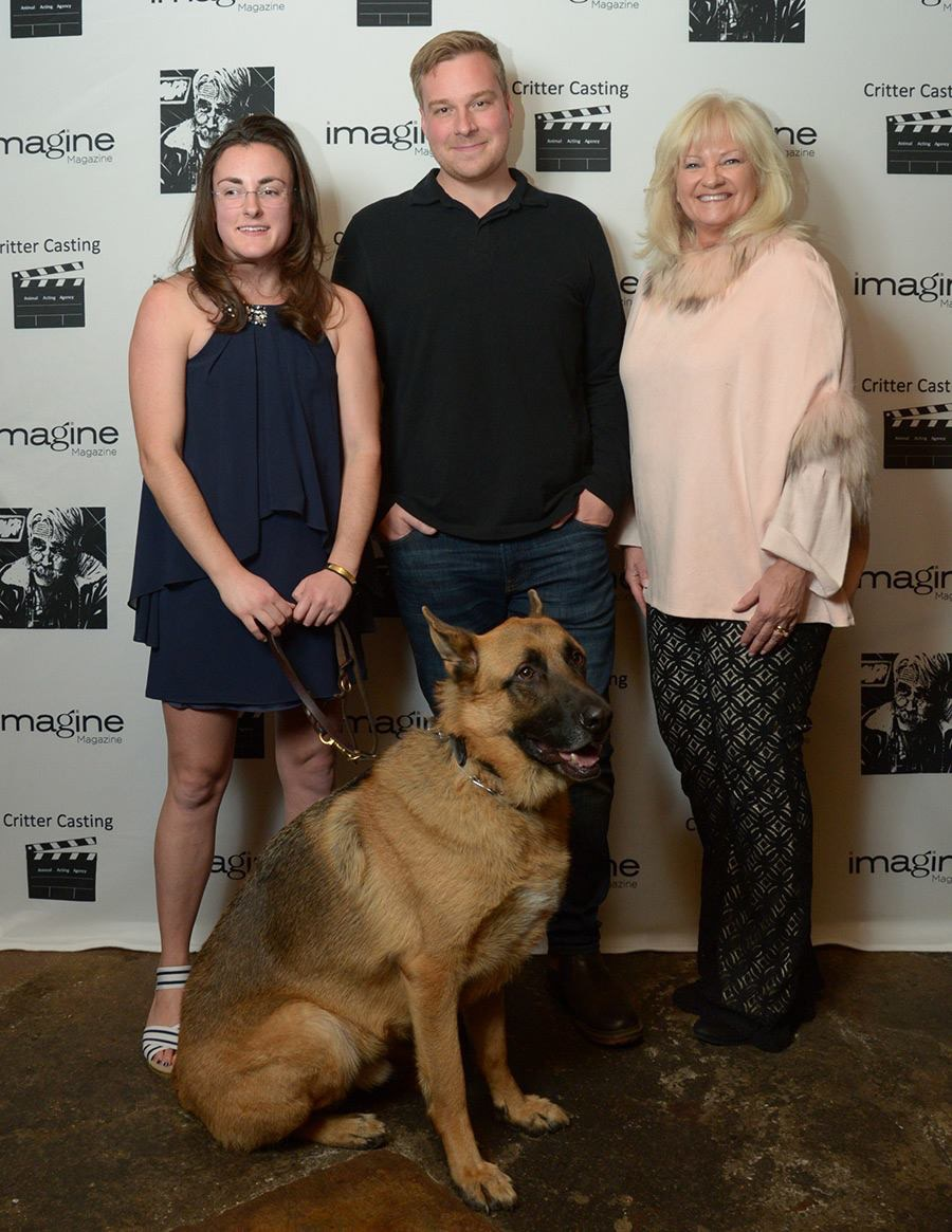 "Silas, with his owner Mikhaila, director Robert D. Krzykowski, and Jan Waldman (l-r) at the premiere of ""The Man Who Killed Bigfoot and then Hitler."" Photo credit: Carolyn Ross"