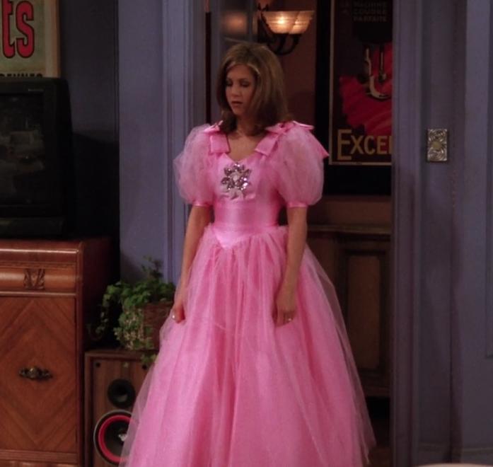 friends rachel pink bridesmaid dress