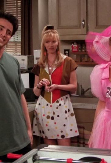 friends phoebe striped polka dot dress