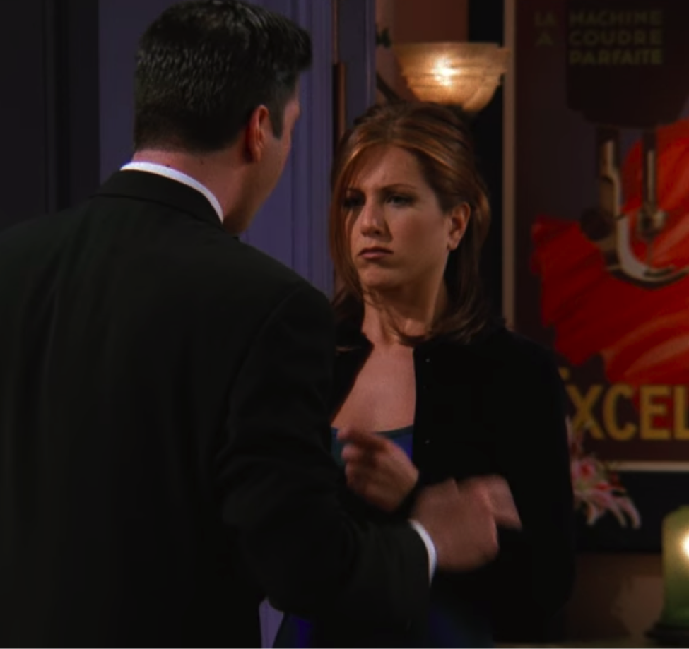 Ross throwing Rachel's shoes during their fight / Handbag Marinara / @handbagmarinara