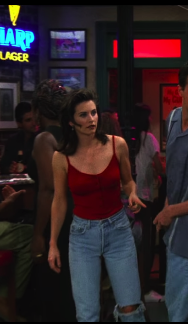 monica red tank top and mom jeans