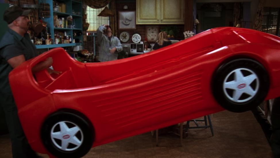 It's a race car bed! / NBC Universal / Handbag Marinara: A FRIENDS Podcast / @handbagmarinara