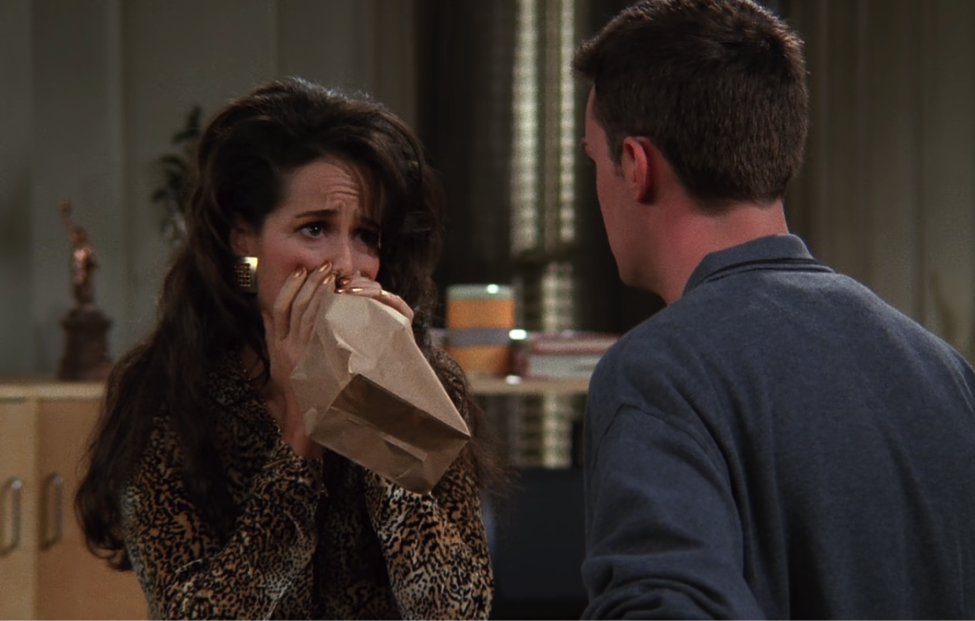 Janice and Chandler at a crossroads / NBC Universal / Handbag Marinara: A FRIENDS Podcast / @handbagmarinara