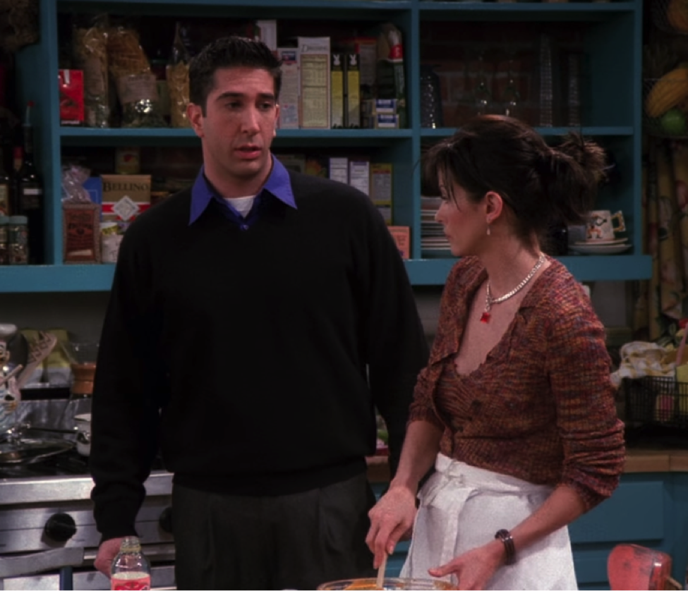 Monica and Ross aren't allowed to play football / NBC Universal / Handbag Marinara: A FRIENDS Podcast / @handbagmarinara