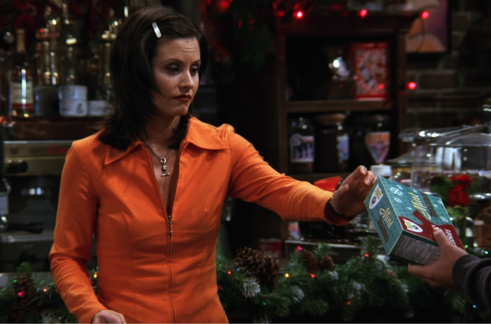 Monica can't resist the pull of the Mint Treasure! / NBC Universal / Handbag Marinara: A FRIENDS Podcast / @handbagmarinara