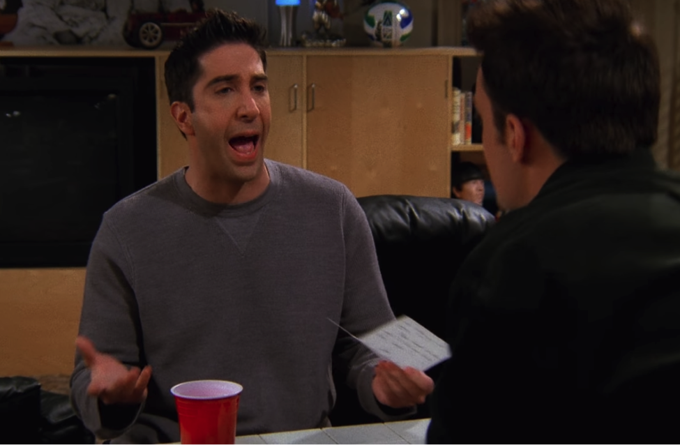 """What the hell's the matter with you?!"" / NBC Universal / Handbag Marinara: A Friends TV Show Podcast / @handbagmarinara"