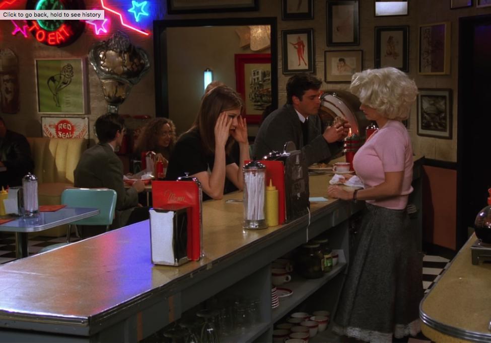 Rachel vents to Monica at the Moondance Diner / NBC Universal / Handbag Marinara: A Friends TV Show Podcast / @handbagmarinara