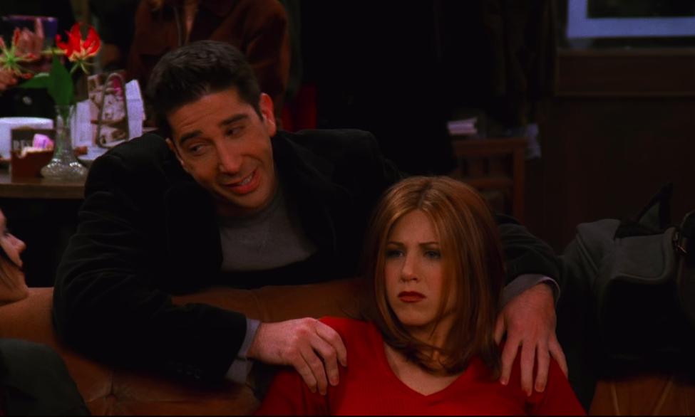 Get your hands off of our girl, Ross! / NBC Universal / Handbag Marinara: A Friends TV Show Podcast / @handbagmarinara