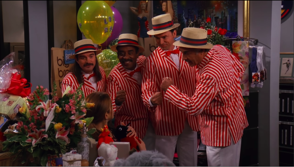 Barbershop quartet / NBC Universal / Handbag Marinara: A Friends Podcast / @handbagmarinara