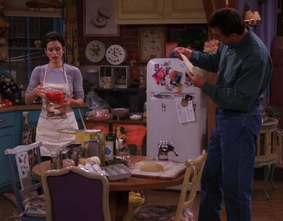 Props Props for the extensive lasagna fixins happening in this scene! / NBC Universal / Handbag Marinara: A Friends Podcast / @handbagmarinara