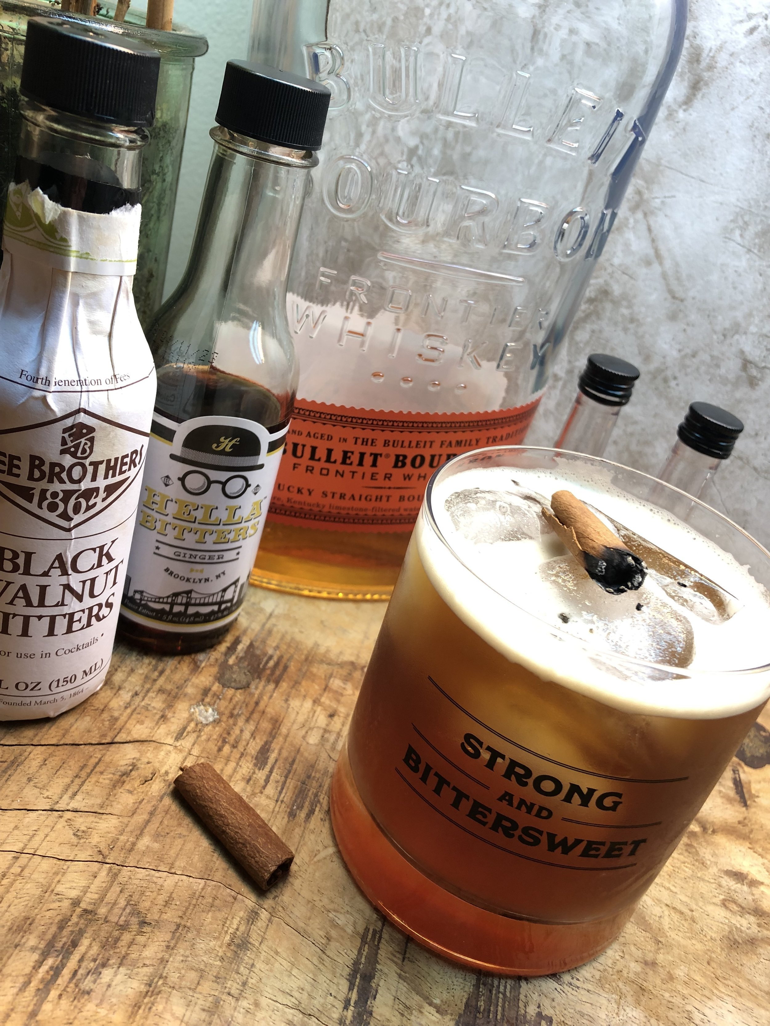 Ginger's Smoky Wooden Leg — rye whiskey, coffee, maple syrup, ginger bitters, and a smoking cinnamon stick! / Handbag Marinara: A Friends Podcast / @handbagmarinara