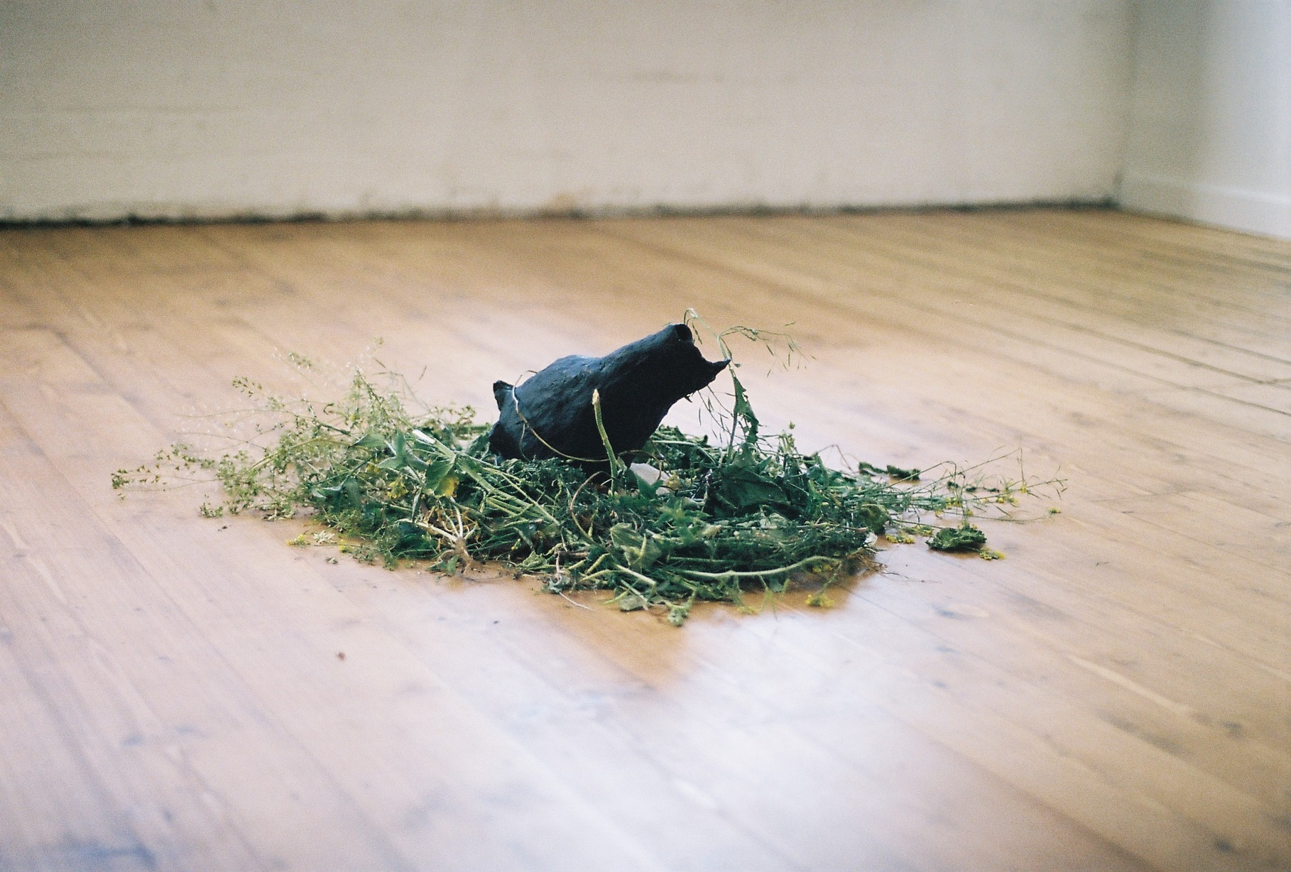 Lucreccia Quintanilla,  If you close your eyes you might see what is really there – Merri Creek Spring , 2017 sand, weeds, broken iPhone, clay, gouache and sound composition photo by Amy May Stuart