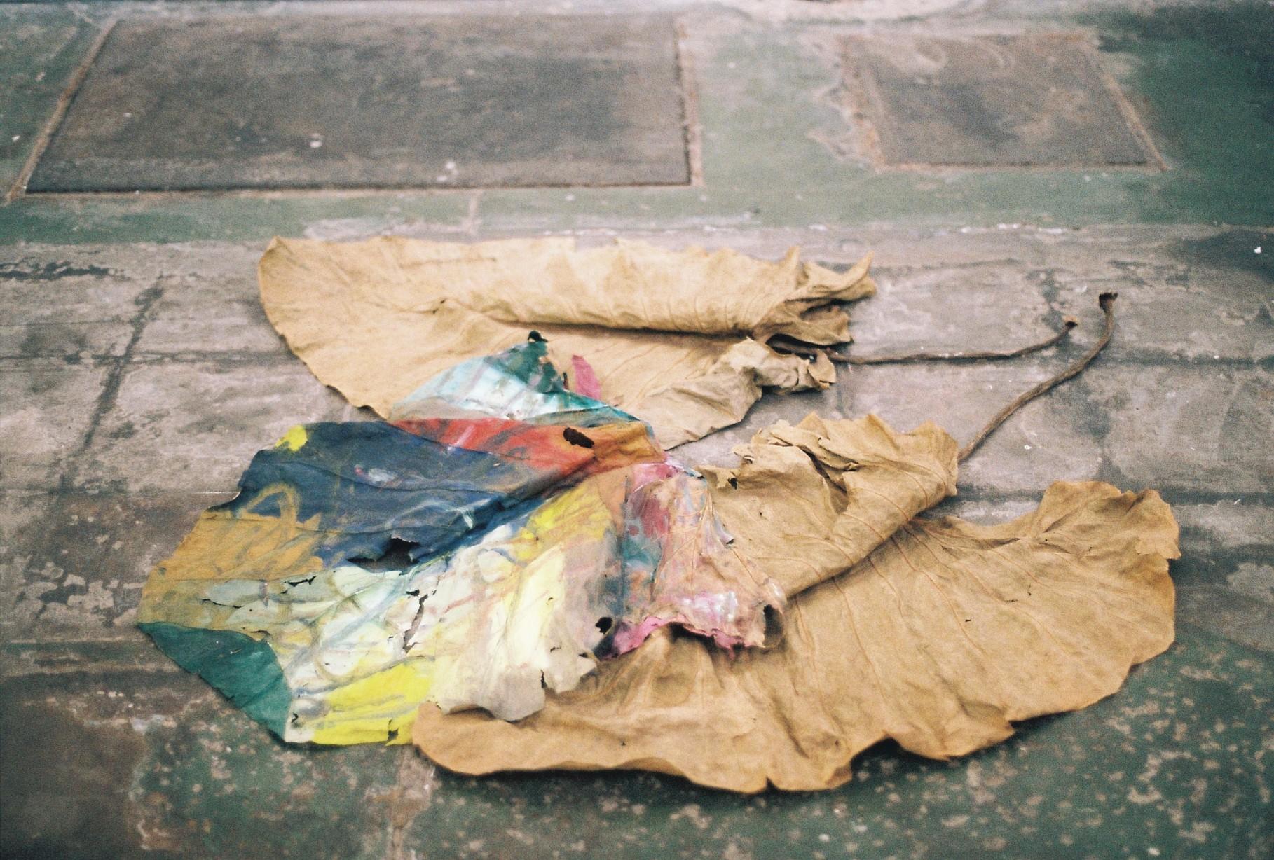 Alice McIntosh,  Leaves ft. Figures,  2018 found figurines, leaves, oil paint