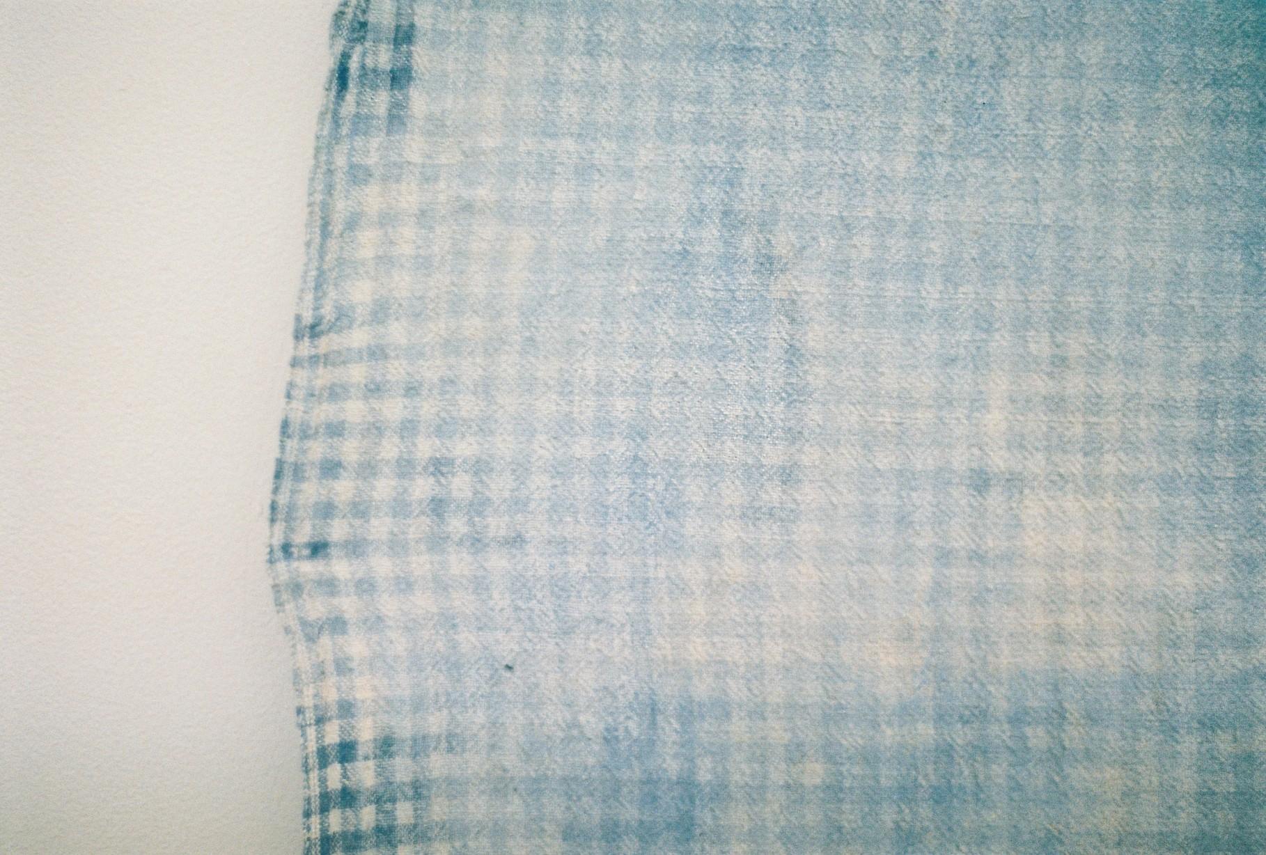 Jahnne Pasco–White,  The bluest feet around , 2017 ash, limestone, PVA, pigment, spray adhesive, acrylic on cotton courtesy Daine Singer, Melbourne