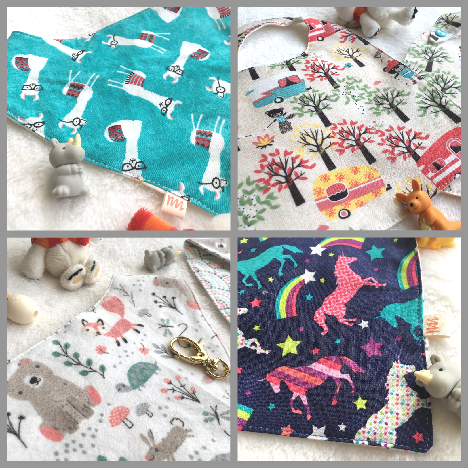 Baby Bibs  - We are very happy to introduce the latest line of baby accessories - traditional and bandana style bibs.  These are made with 100% cotton and flannel so they are super soft and absorbent.  And with so many prints to choose from, they are all practical yet stylish!