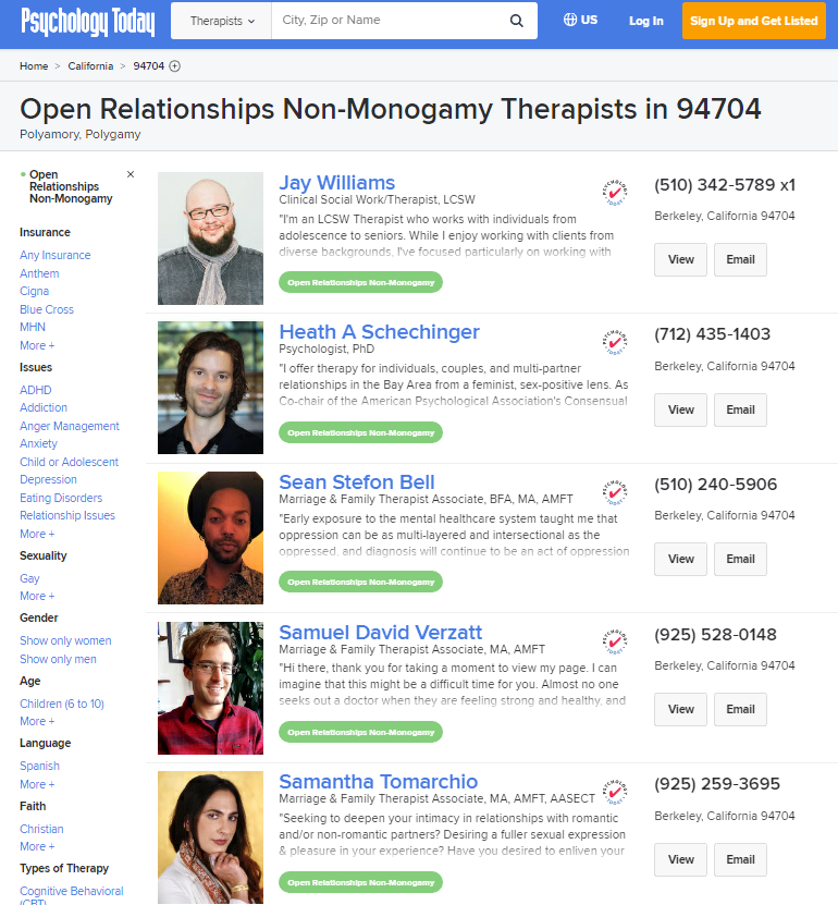 "Screenshot of top search result of "" psychology today 94704 therapists open relationships non-monogamy"""