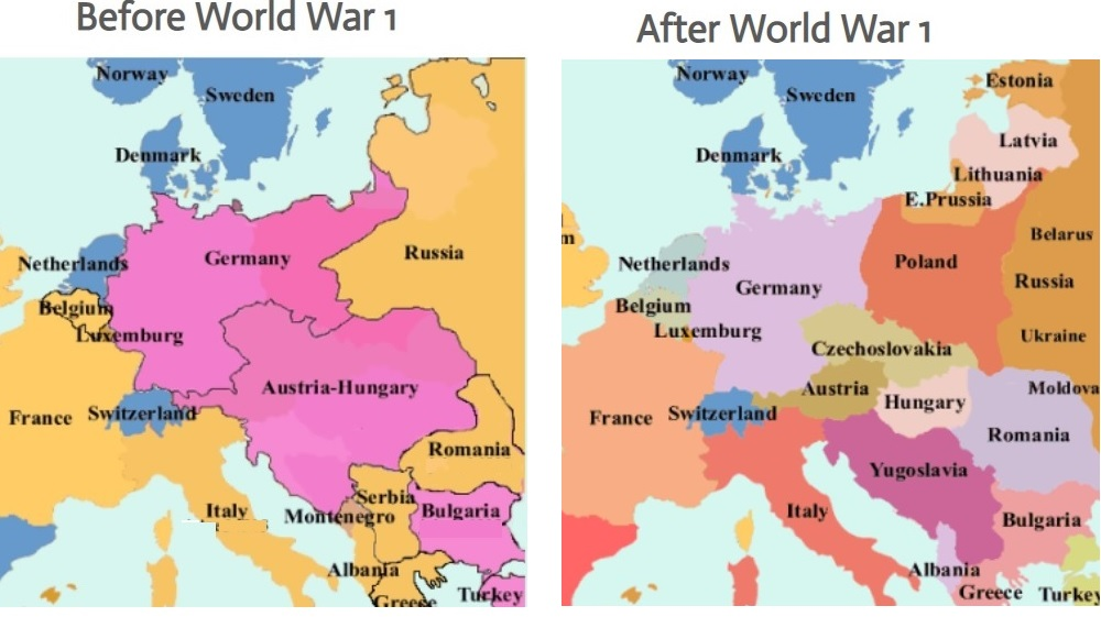 How World War I Changed the Map of the World — Parks ... on ww1 treaty of versailles cartoon, post-wwi map, elbe river basin map, ww1 battle of verdun map, versailles europe map, treaty of versailles germany map, results from treaty of versailles map, german invasion of poland map, nazi germany map, ww1 battle of the somme map, rhineland ww2 map,