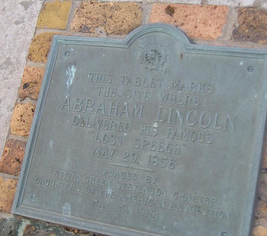 Lincoln 'Lost Speech' Plaque