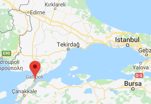 Location of Gallipoli
